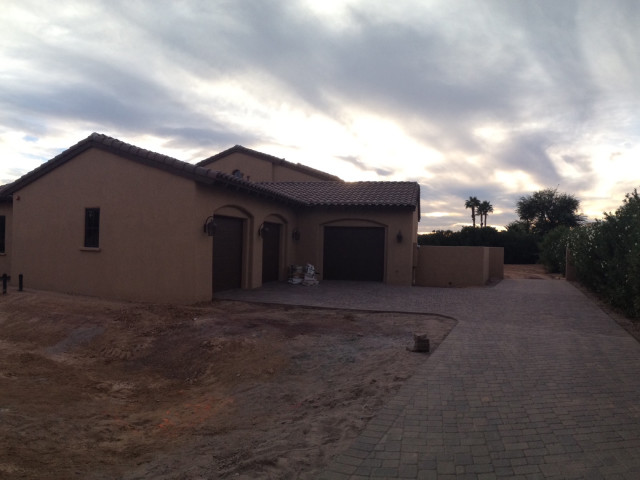 This home site darkens as the day comes to a close. The project will continue tomorrow.