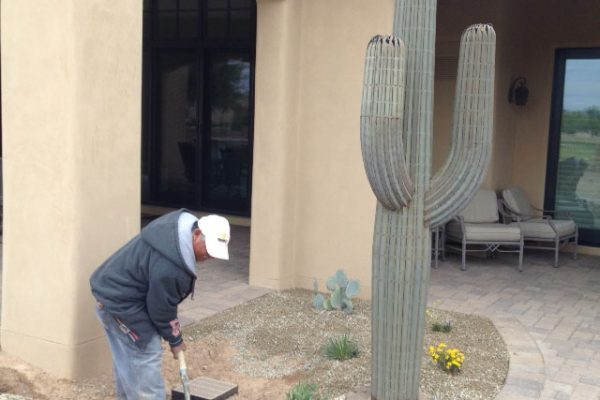 Decorative landscaping is one of the last touches to complete the rear yard