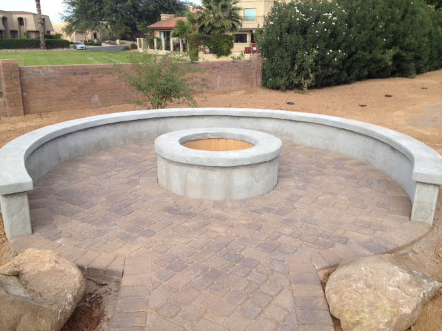 Masonry is finished and pavers are in place at the Fire Pit