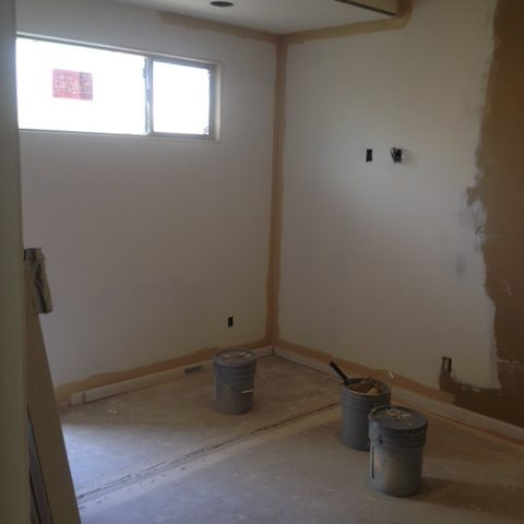 The current study has been stripped and prepared for the remodel.