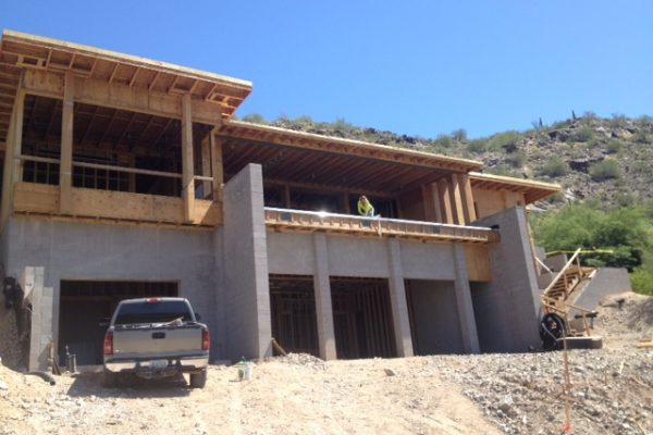 Masonry and wood framing clearly show the shape of this home.