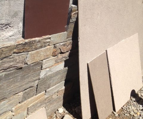 Samples of finishing exterior materials are brought onsite to see them in the natural sunlight.