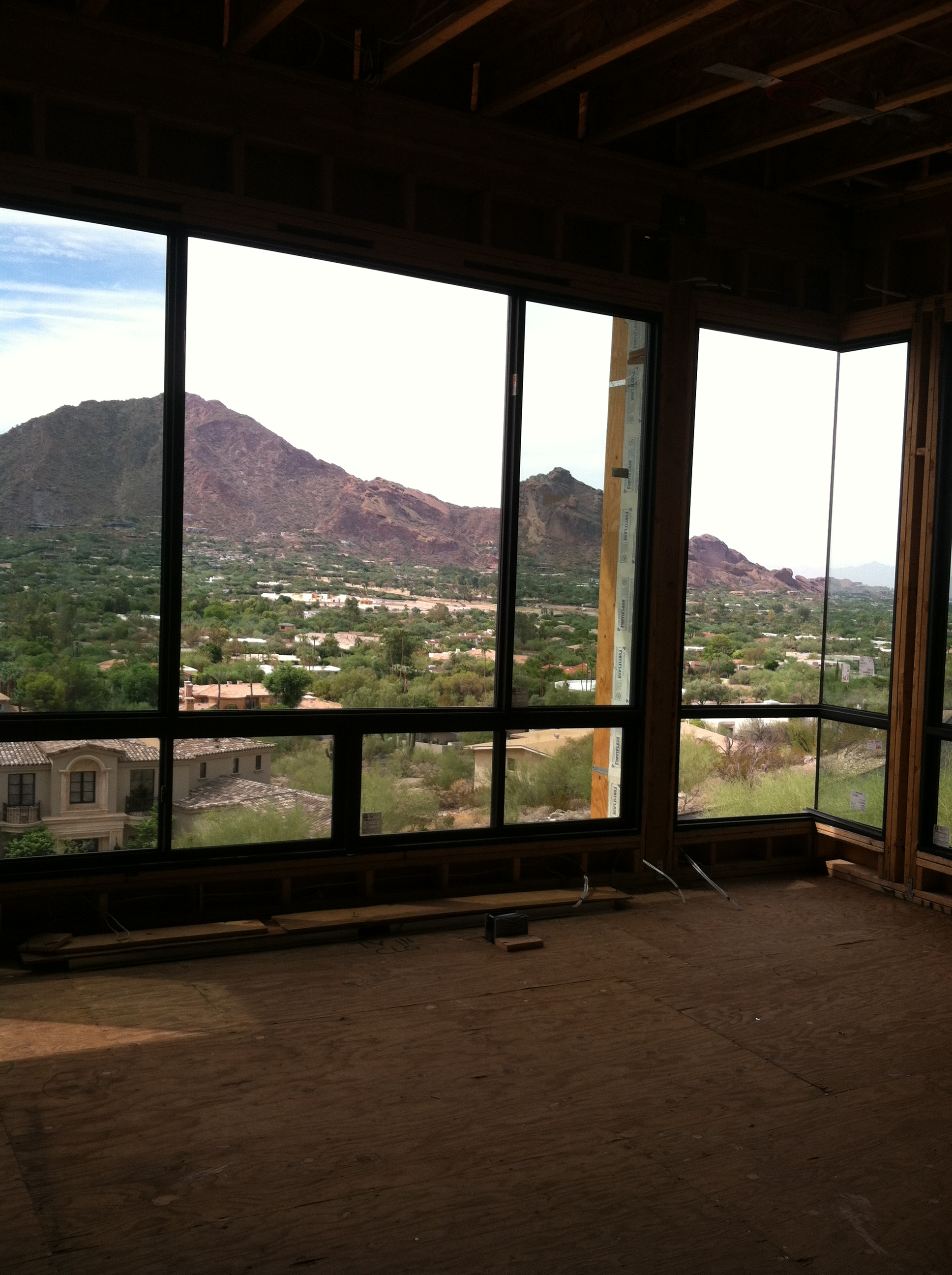 Camelback Mountain is clearly seen through these floor-to-ceiling windows.