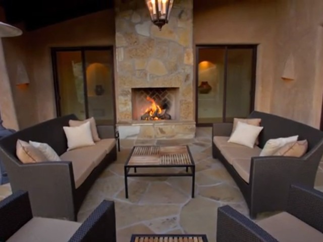 Family Resort Outside Fireplace