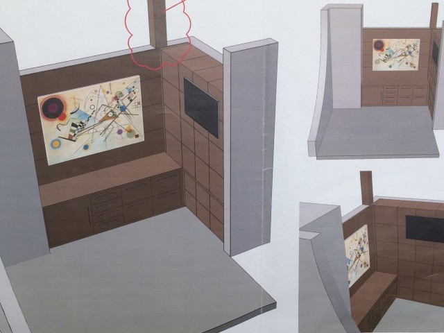 Concept drawings of what an office will look like when complete.