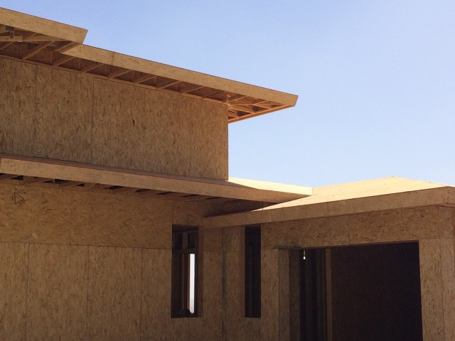 The architect of this house made purposeful roof lines to add to the unique design.
