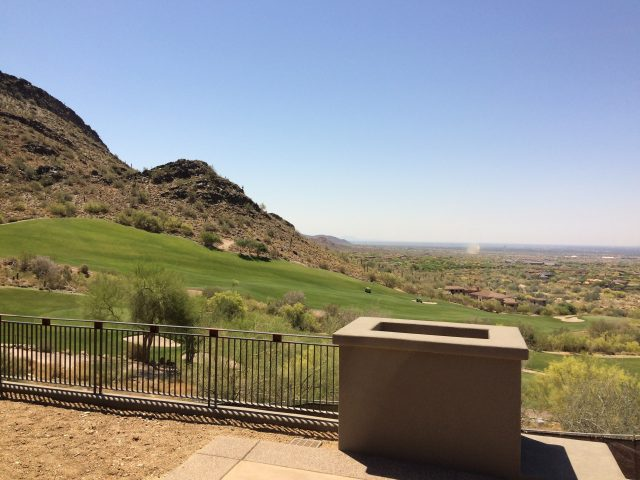 Lovely views of DC Ranch's golf course and mountains outside of Her Master Bedroom double doors.